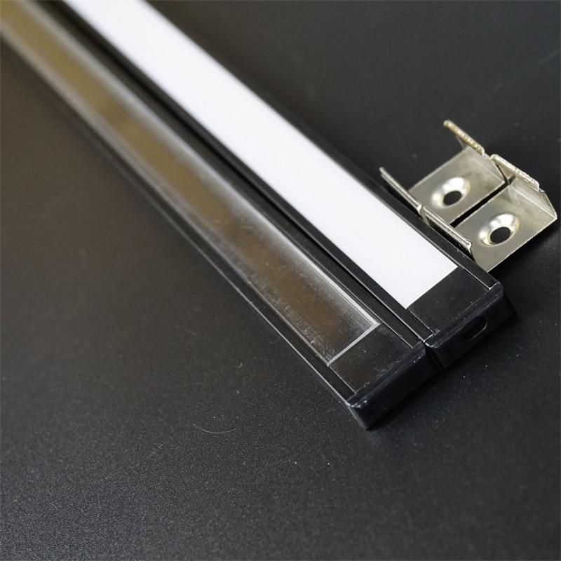 5-30pcs/lot ,1m anodized black aluminum profile for led strip,milky/transparent cover for 12mm 12/24V strip ,slim LED bar light