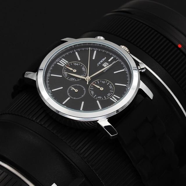 Pilot Watches Men SINOBI  Hours Function Men's Sport Watch Rubber Gold WristWatches Army Quartz Watch Montre Homme