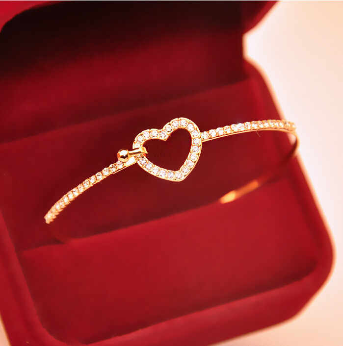 2019 Hot Fashion Classic Style Gold Rhinestone Love Heart Bangles Gift Bangle Cuff Plated Bracelets Jewelry For Women Feminina