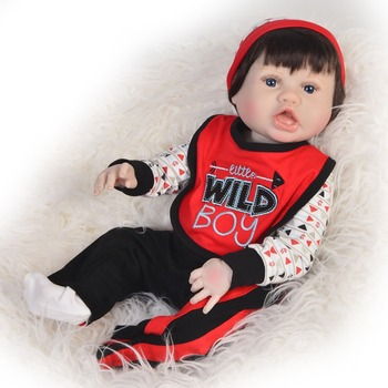 23'' Handsome Reborn Baby boy Dolls all Silicone Realistic Baby Doll Toy For Kids Birthday Gifts Real Alive bebe Reborn baby Eth