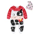 newborn red bull long-sleeved layette cotton baby clothes infant baby suit with hat baby climbing clothes wrap foot binding suit