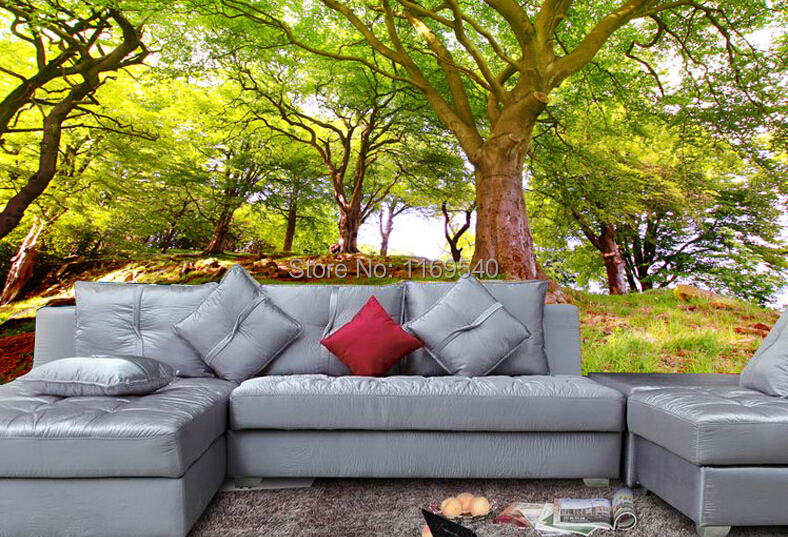 2015 new custom size 3d wallpaper scenery green tree for Custom mural wallpaper uk