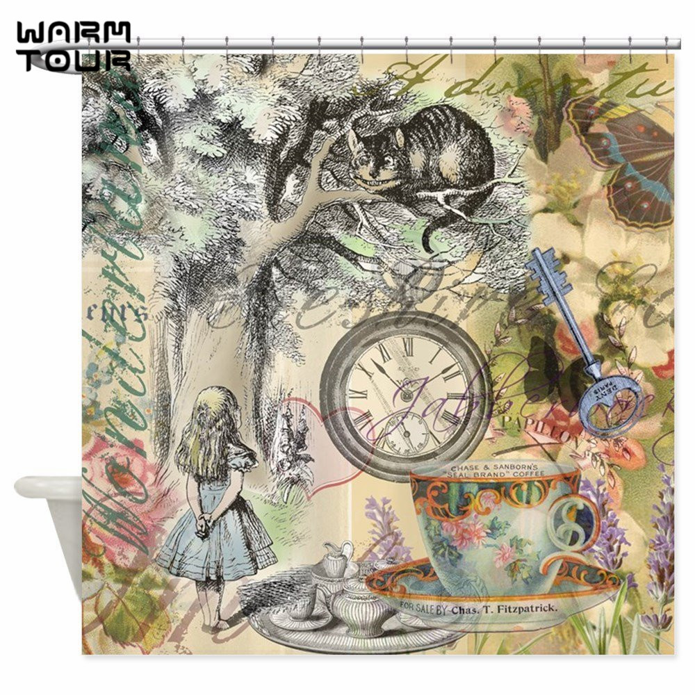 Warm Tour Cheshire Cat Alice In Wonderland Decorative Fabric Shower Curtains WTC077