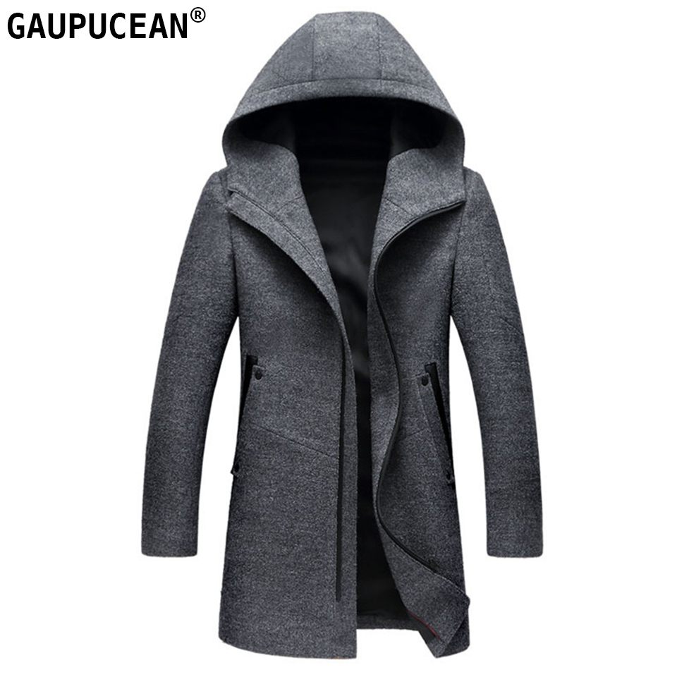 Man Wool Hooded Jacket Long High Quality Hoodie Zipper Casual Black Grey Male Trench Pockets Overcoat Warm Men Woolen Coat