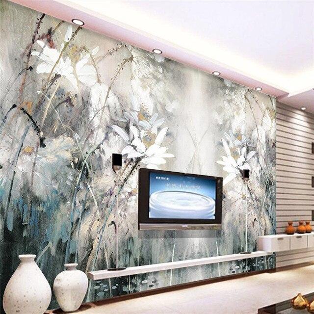 Beibehang achtergrond lotus olieverf abstracte lijnen hotel ...