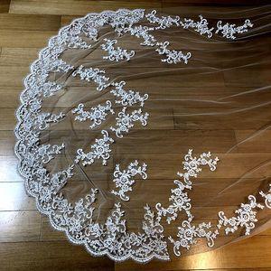 Image 3 - Novas fotos reais branco/marfim appliqued mantilla velos de novia véu de casamento longo com pente acessórios de casamento ee2003