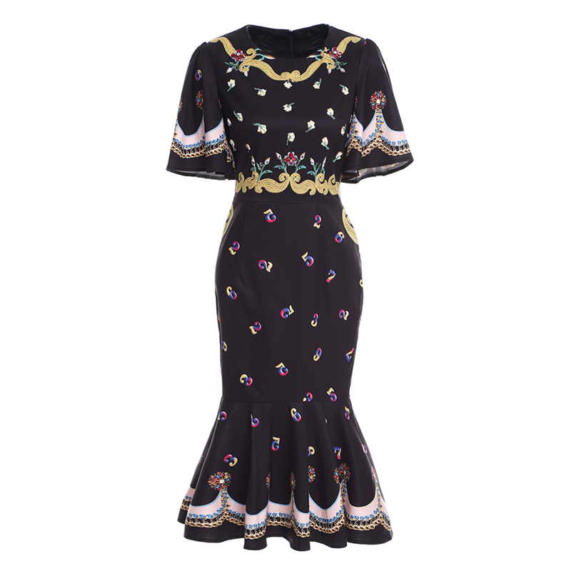 High Quality 2018 Designer Fashion Summer Dress Women Butterfly Sleeve Vintage Print Beaded Crystal Luxury Trumpet/Mermaid Dress
