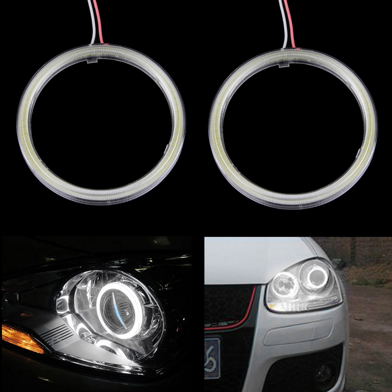1 Pair 80mm White COB Angel Eyes Halo Car LED Light Ring Headlight DRL DC 12V 1pair white 80mm cob car led angel eyes drl daytime running headlight halo ring driving lamp auto blub with cover 63 chips 12v