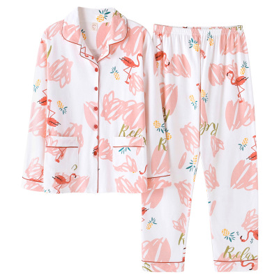 New Autumn Winter 100% Cotton Pajama Sets For Women Long Sleeve Shirts+Trousers 2pcs Cartoon Pajama Sets Cute Sleepwear Homewear