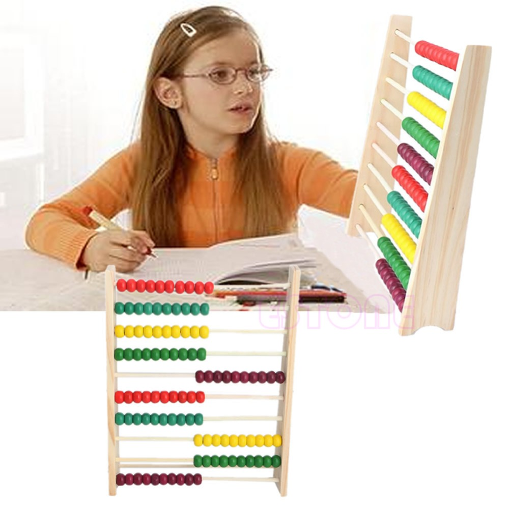 Wooden 10-row Abacus Counting Colorful Beads Maths Learning educational Kid Toy