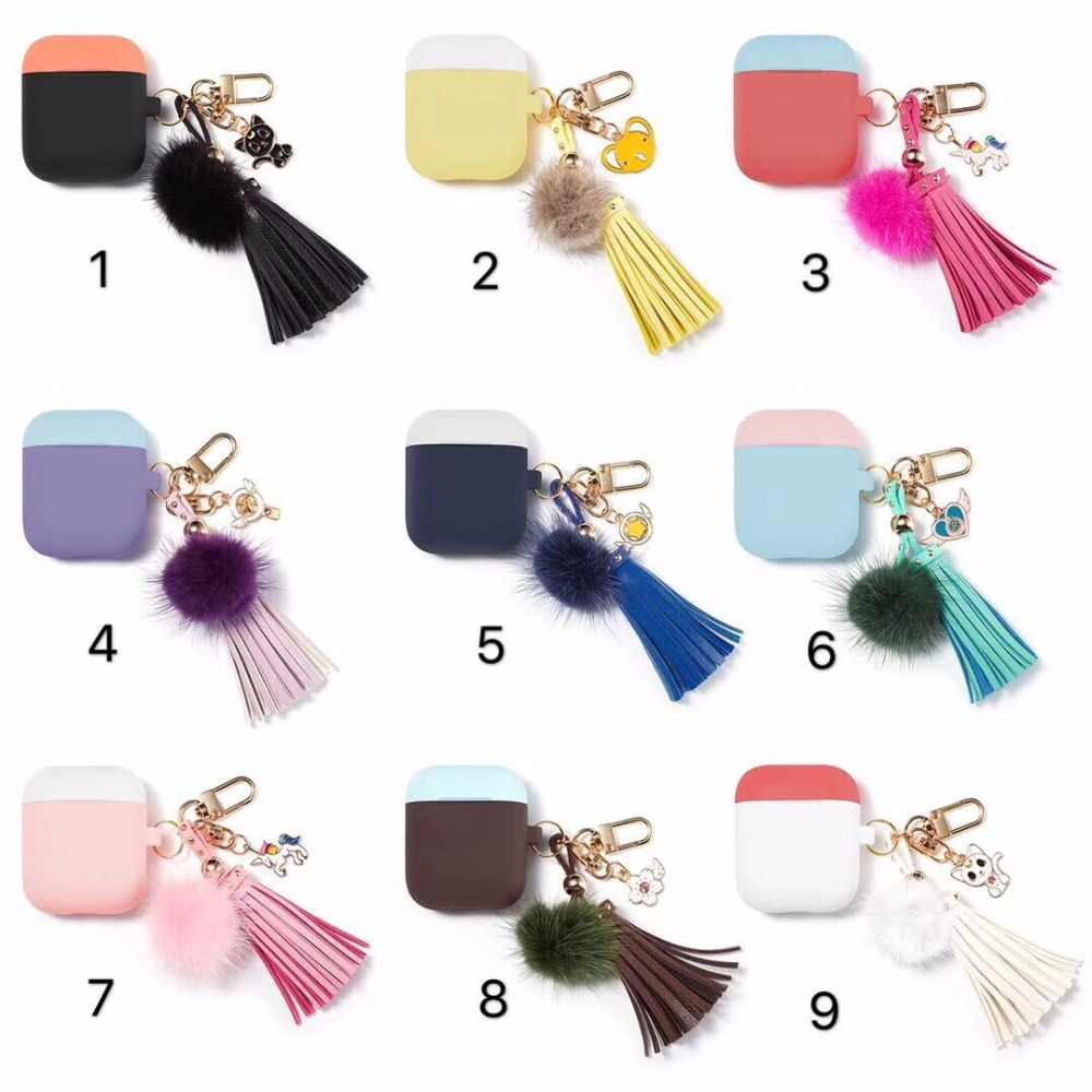 The 2nd generation Airpods Case With tassel pendant Silicone Protective cover for Apple Earphone Airpods for Girls Kids Holiday