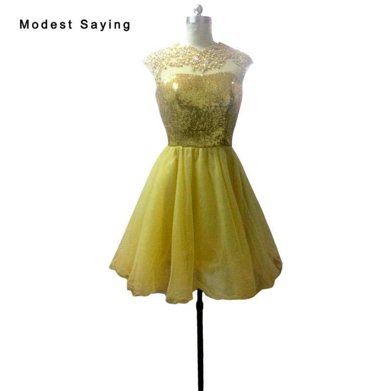 Elegant Gold Sequined Lace   Cocktail     Dresses   2018 with Rhinestone Knee Length Homecoming Graduation Prom Gowns vestido de festa