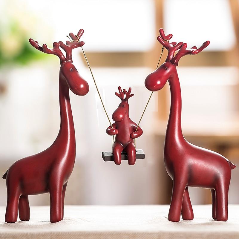 Elk famille Figurine fait à la main résine balançoire cerf Statue artisanat Knickknack embellissement pour la décoration de la chambre et cadeau Souvenir