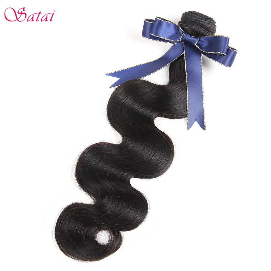 Satai Brazilian Body Wave Hair Extension 1 Piece Remy Human Hair Bundles Naturlig Svart Färg 8-28 tum No Tangle