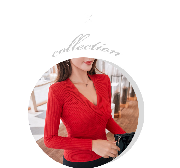 19 New Sexy Deep V Neck Sweater Women's Pullover Casual Slim Bottoming Sweaters Female Elastic Cotton Long Sleeve Tops Femme 22