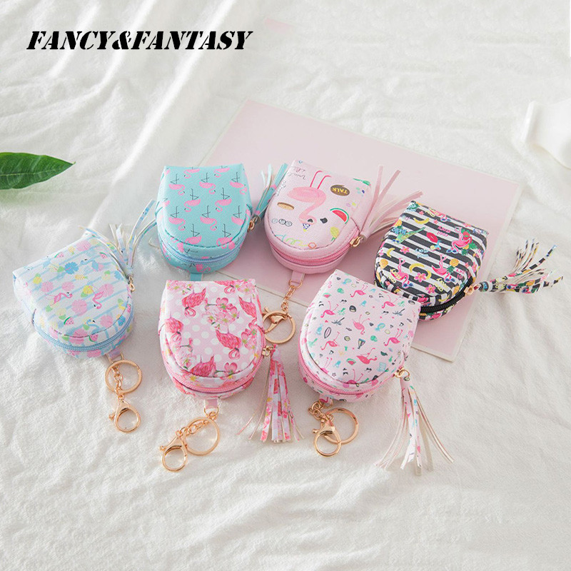 Fancy&Fantasy Hot Selling Flamingo Bag Shaped Keychain Coin Purse Zipper Small Wallet  Keychain Handbag Purse Pendant Jewelry