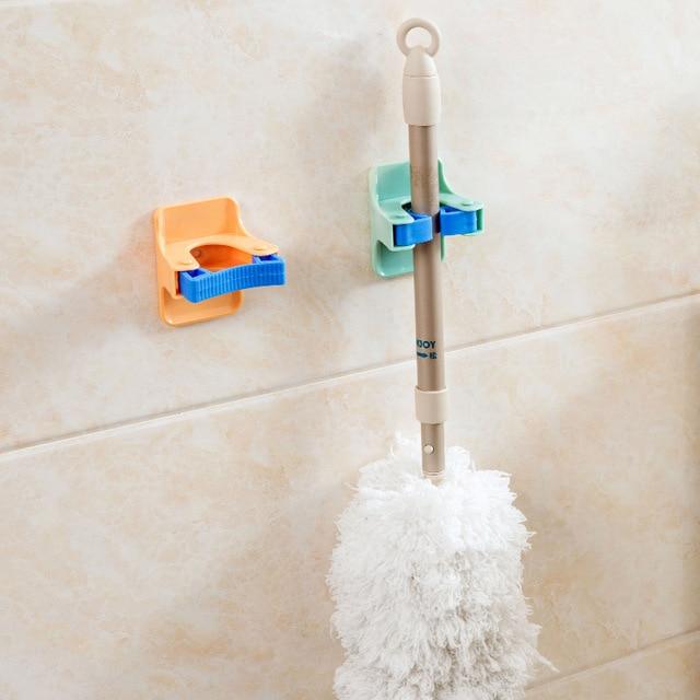 MOM'S HAND 2pcs/lot Home Clip Mop Hooks No Trace Mop Holder Bathroom Rack 6