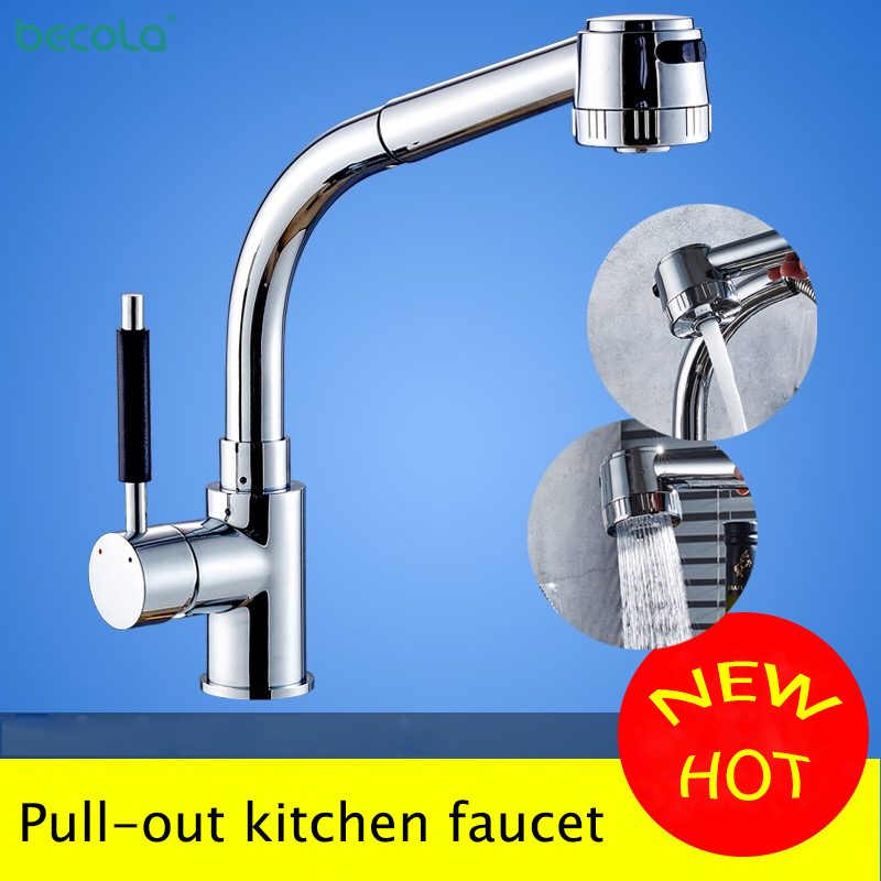 BECOLA Chrome Kitchen Faucet Pull out Sprayer 360 Rotation cold and hot Single Handle Mixer Tap
