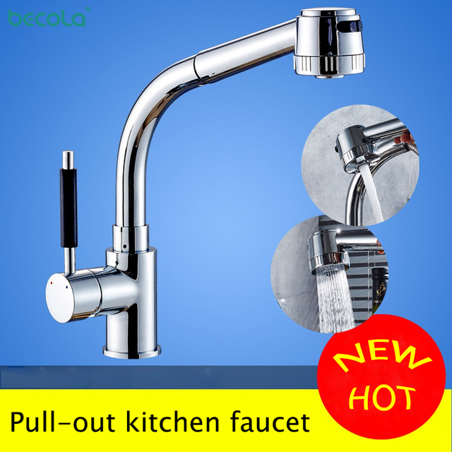 BECOLA Chrome Kitchen Faucet Pull-out Sprayer 360 Rotation cold and hot Single Handle Mixer Tap Sink Faucet Free Shipping