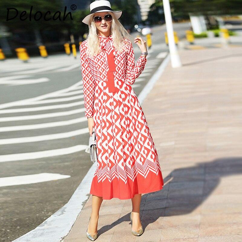 Robe Collar MiVeau down Magnifique Multi Delocah Designer Femmes Manches Pleine 2018 Dot Turn Imprimé D'été Mode Nouveau De gb76yYf