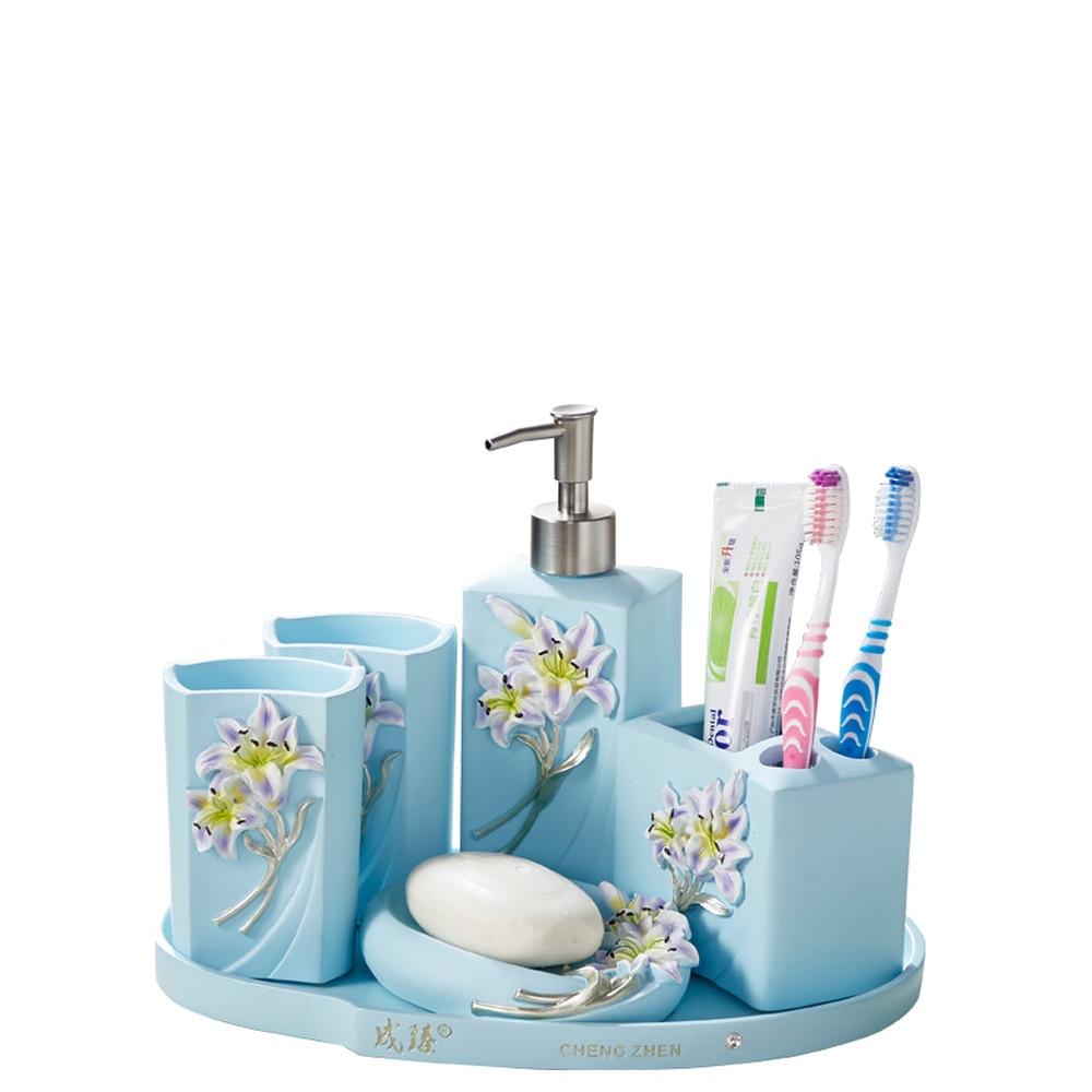 A1 Creative home bathroom five-piece lily blue bathroom wash bathroom bathroom tray LO724247 цена 2017