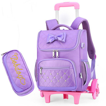 2019 Removable Trolley Backpack Kids Wheels Children school bags Girls Kids travel luggage book bag Schoolbag Mochilas Escolares kids wheels removable trolley school backpack children school bags girls kids travel bag princess schoolbag mochilas escolares