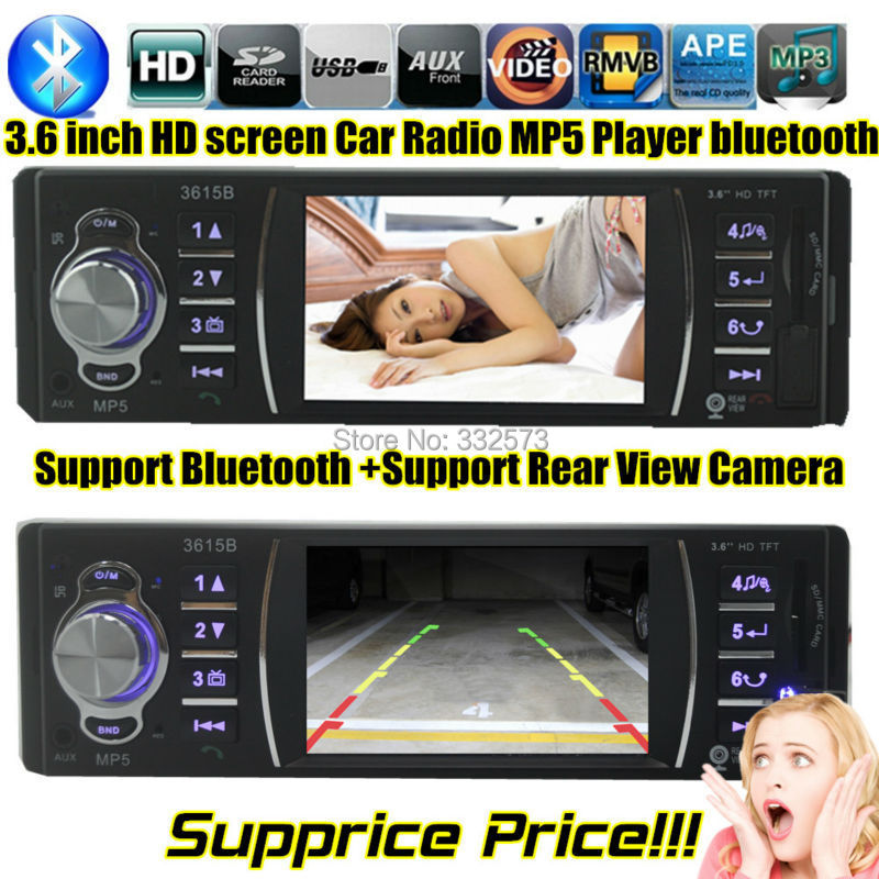 new 3 6 inch TFT HD screen support rear view camera car radio bluetooth car font