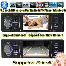 """Nuevo 3.6 """" pulgadas TFT soporte de pantalla HD cámara de visión trasera del coche de radio bluetooth reproductor de audio USB SD 1080 P radio 1 din coche mp5"""