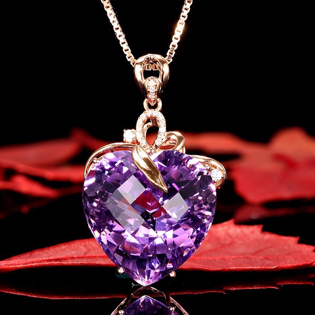 Purple Rhinestone Crystal Necklace Pendant Choker For Women Gold Chain Korean Style Big Necklace Gifts For Best Friend Charming