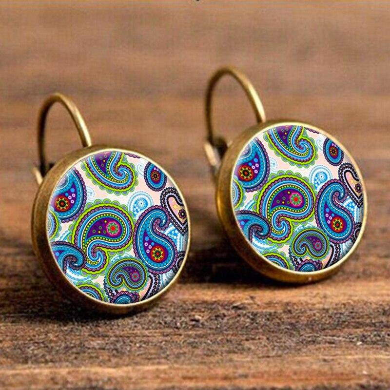 Женские серьги-капельки из голубой смолы, модные круглые серьги в стиле бохо, индийские украшения