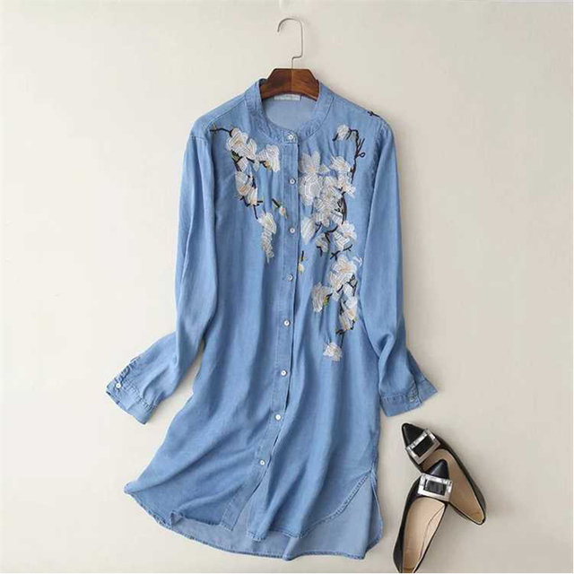 eb5b17dd3e9 2017 Women Summer Light Blue Denim Shirt Dress Stand Collar Long Sleeve  High Low Split Side Embroidery Casual Dress Plus Size