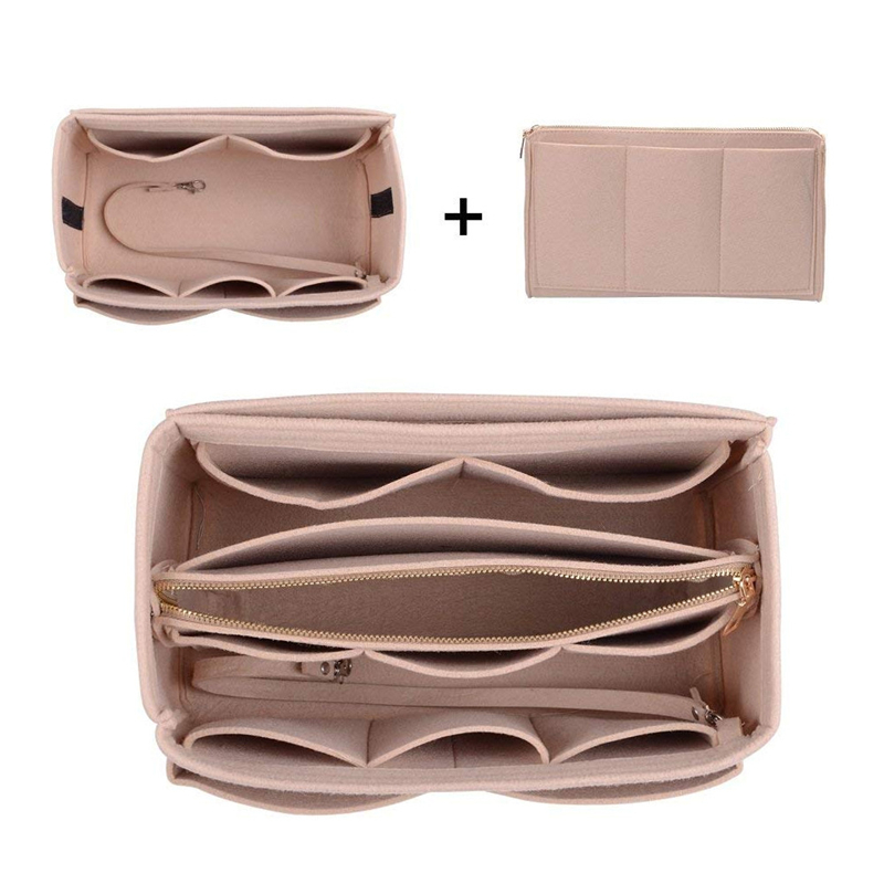 New Popular Women's Makeup Organizer Felt Cloth Insert Bag Multi-functional Travel Cosmetic Bag Girl Storage Toiletry Liner Bags