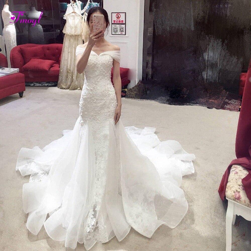 Fsuzwel Sexy Boat Neck Appliques Mermaid Princess Wedding Dress 2019 Luxury Beaded Trumpet Bride Gown Vestido
