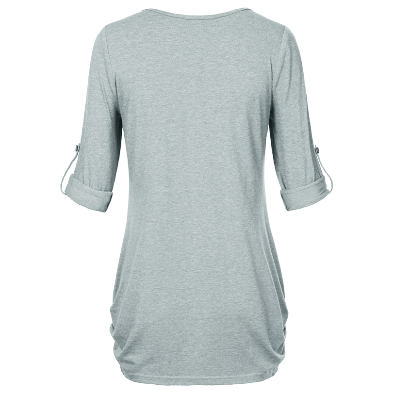 HTB1uKbdPFXXXXX.XVXXq6xXFXXX0 - New Women Summer T-shirt Button Long Sleeve Female