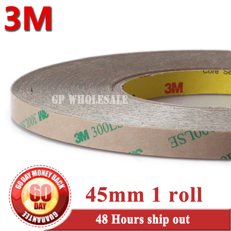 цена на 1x 45mm*55M 3M 300LSE Super Strong Sticky Clear Two Sides Adhesive PET Tape for Mobilephone Pad Tablet MP4 Frame Glass Panel