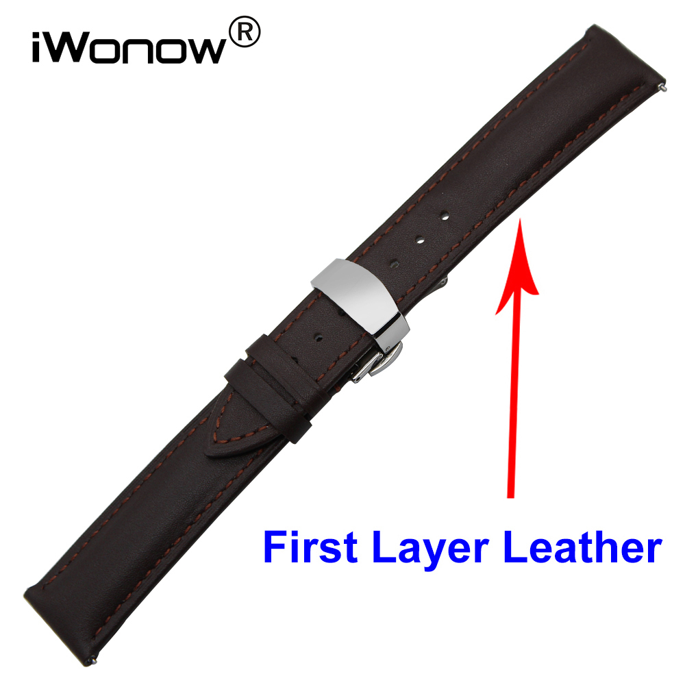 Cowhide Genuine Leather Watch Band 18mm 20mm for DW Daniel Wellington Butterfly Buckle Strap Quick Release Wrist Belt Bracelet