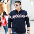 BIG GUY 2XL-7XL Large Size Long Sleeve Polo Shirts Men 2017 Spring Autumn Casual Polo Homme Baggy Male Polos Black Blue 1379 PZ3