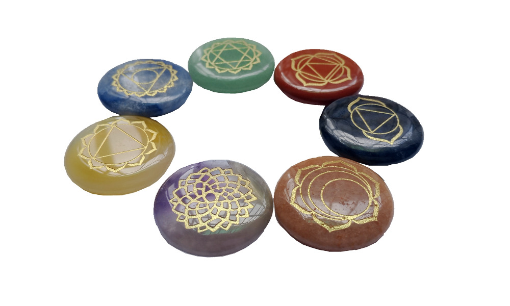 Reiki Chakra Stones Penyembuhan w / Chakra Kasus Set dari 7 Chakra - Perhiasan fashion - Foto 2