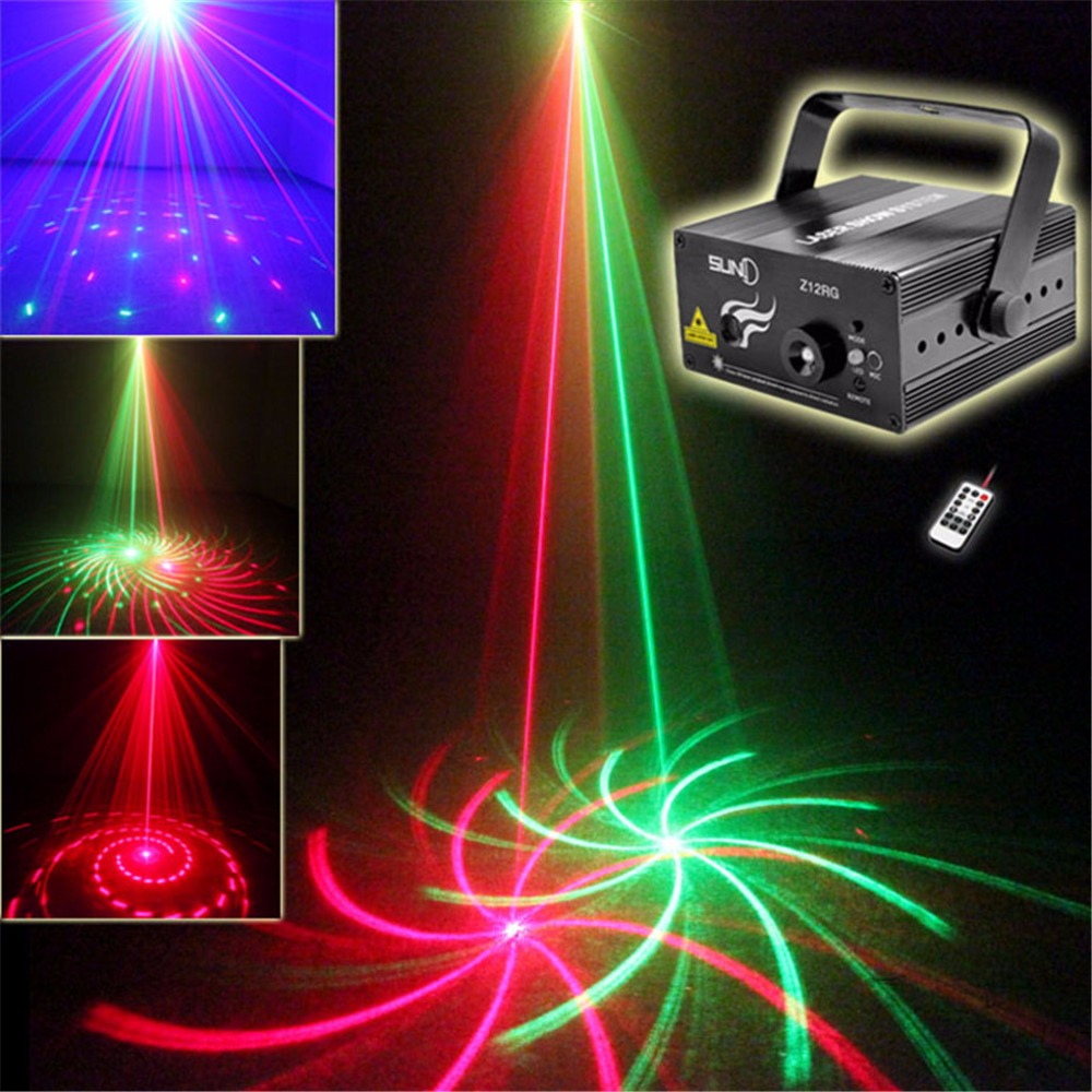 AUCD Mini 12 Patterns Red Green Laser Projector Stage Light 3W Blue LED Mixing Effect Laser DJ Show Home Party Lighting Z12RG mini rgb laser projector light red green blue mixing dj disco stage lighting effect for bar club party show lights