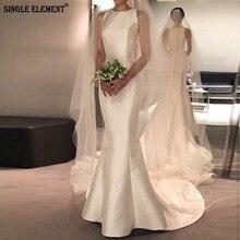 SINGLE ELEMENT Simple Satin Ivory Wedding Dress Mermaid Bridal Gown