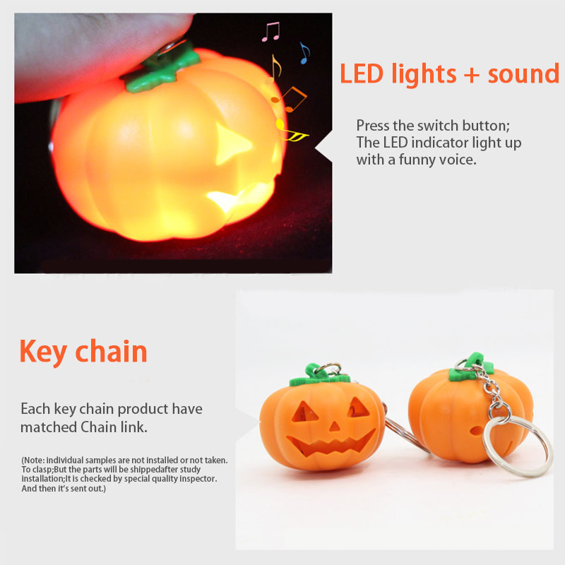 Adults Kids Portable Pumpkin Shape LED Light Keychain With Sound Halloween Gift Outdoor Sports Camping Self Defense Accessories
