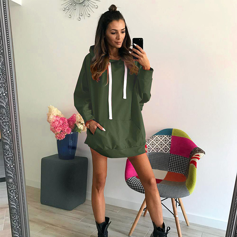 2018 Long Sleeve Solid Color Hooded Sweatshirt Autumn Women Loose Casual  Hooded Pullover Tops Tracksuits F2