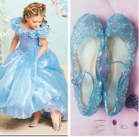 Kõrge kvaliteediga sära Elsa kingad tütarlastepidu sandaalid beebi tüdrukute kristall kingad 2017 uhiuue lapse kingad