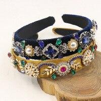 Neue Trend Barocken Luxus Samt Crown Kristall Blume Haarband Schmuck Zubehör Hochzeit Tiara Perle Stirnband Geschenke