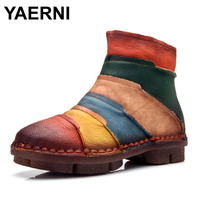 YAERNI Hot Sale Shoe Martin Boots Genuine Leather Ankle Shoes Vintage Casual Shoes Brand Design Retro