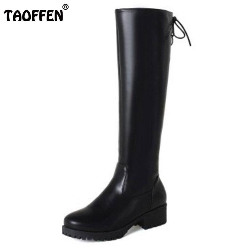 TAOFFEN Size 33-43 Women Knee Boots Zipper Lace Up High Heel Boots Warm Shoes Women Thick Fur Boots Long Botas Women Footwears
