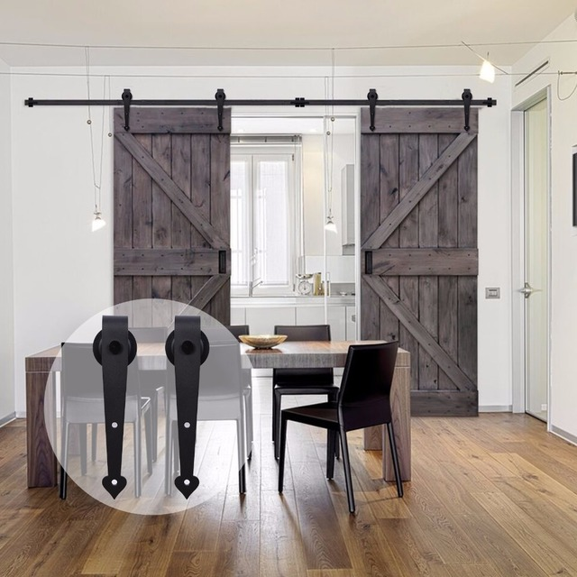 LWZH American Style Wood Barn Door 6FT/7FT/7.5FT/9FT Black Steel Sliding Barn  Door Heart Shaped Track Roller For Double Door
