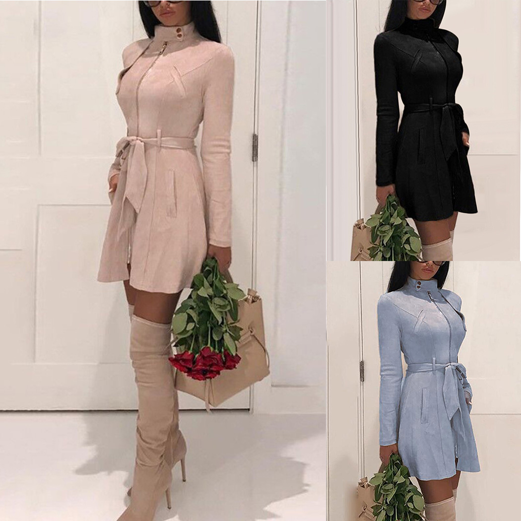 2018 Autumn Fashion Women Solid Color Zipper   Trench   With Belt Winter Elegant Lady Suede   Trench   Coats Long Outwear Slim Tops Coat