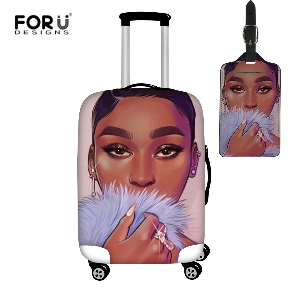 FORUDESIGNS Afro Girls Black Lady Print Luggage Cover Thicker Suitcase Protective Covers 2pcs/set Trolley Case Dust Rain Cover