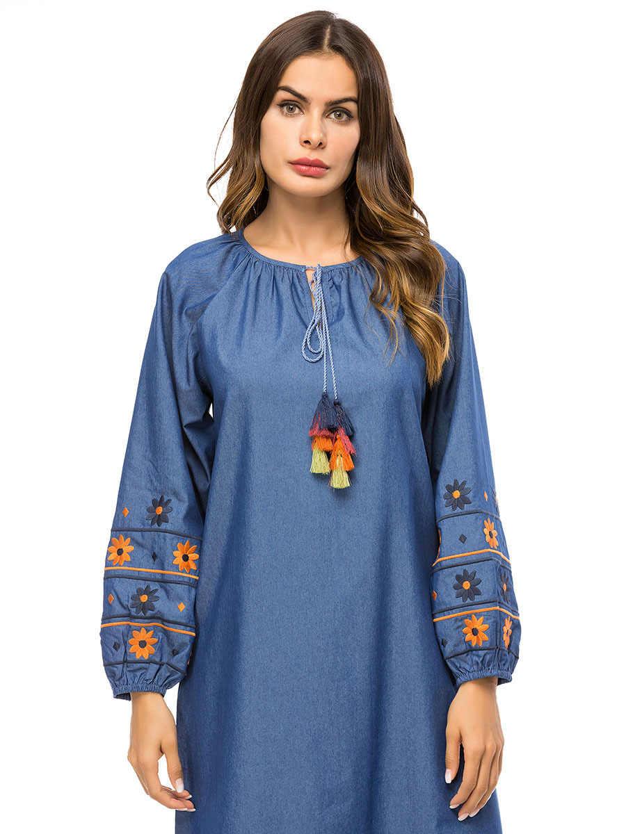 Длинное мусульманское платье одежда из Дубая для женщин вышивка свободные джинсовые макси платья Исламская одежда Турецкая Бангладеш плюс размер Халат